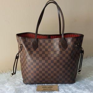 54027a997ef5 Authentic Louis Vuitton Damier Ebene Neverfull Mm